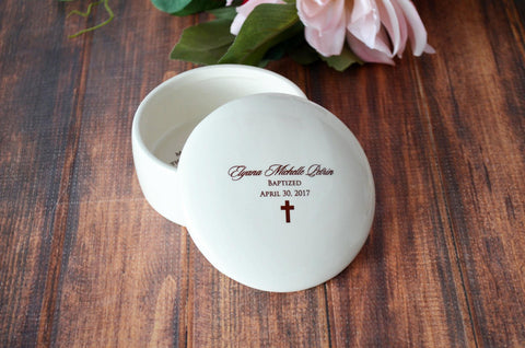 Baptism Gift or First Communion Gift - With Irish Blessing, Name & Date - Round Keepsake Box - With Gift Box