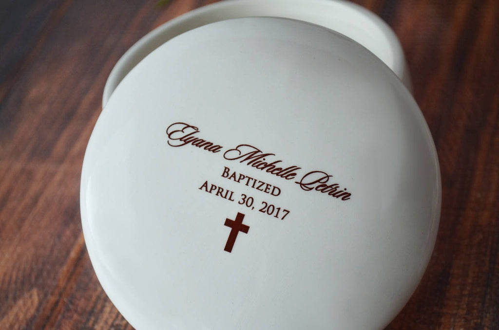 Baptism Gift or First Communion Gift - With Irish Blessing, Name & Date - Script Font - Round Keepsake Box - With Gift Box