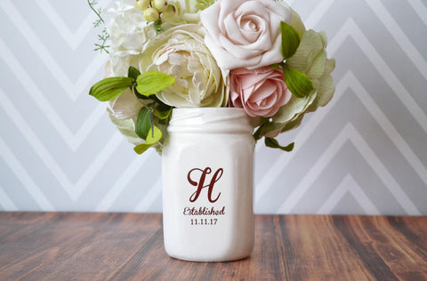 Mason Jar Vase - Wedding Gift or Wedding Centerpiece Vase - Personalized - Comes with Gift Box