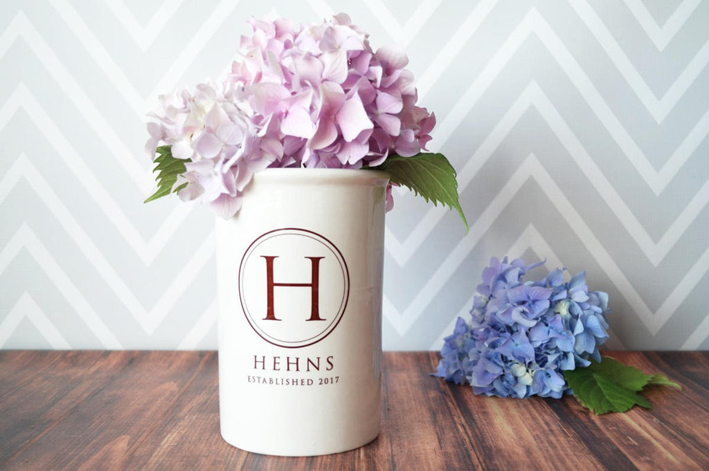 Wedding Gift or Anniversary Gift - Use as a Personalized Vase or Utensil Holder