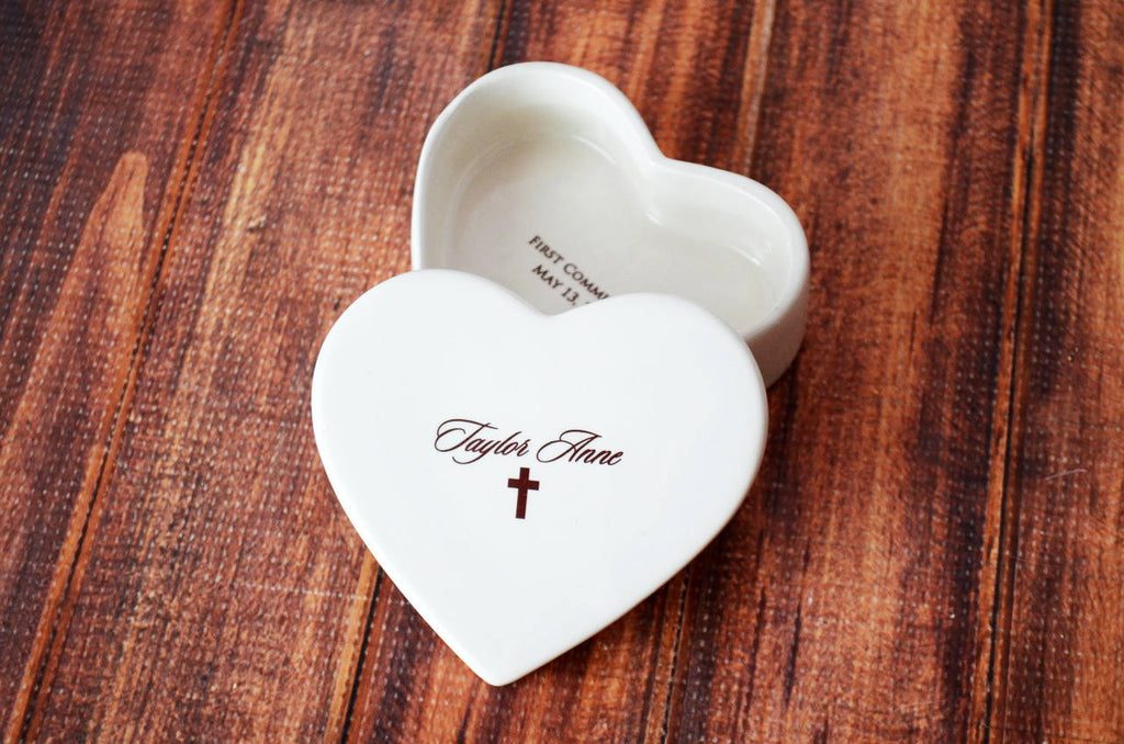Heart Keepsake Box - Baptism Gift, First Communion Gift or Confirmation Gift - Script Font - With Gift Box