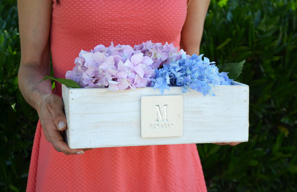 Wedding Gift, Anniversary Gift, Housewarming Gift, Rustic Wedding or Wedding Centerpiece Idea - White Washed Planter - Natural Wood