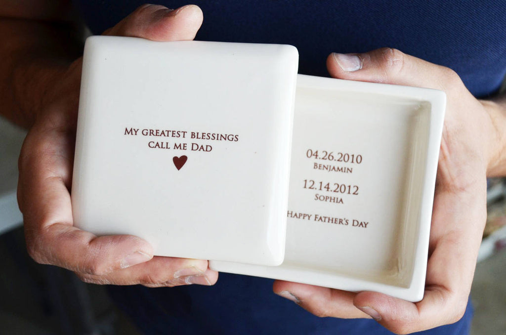 Father's Day Gift - My Greatest Blessings Call Me Dad - Square Keepsake Box - Comes with a Gift Box