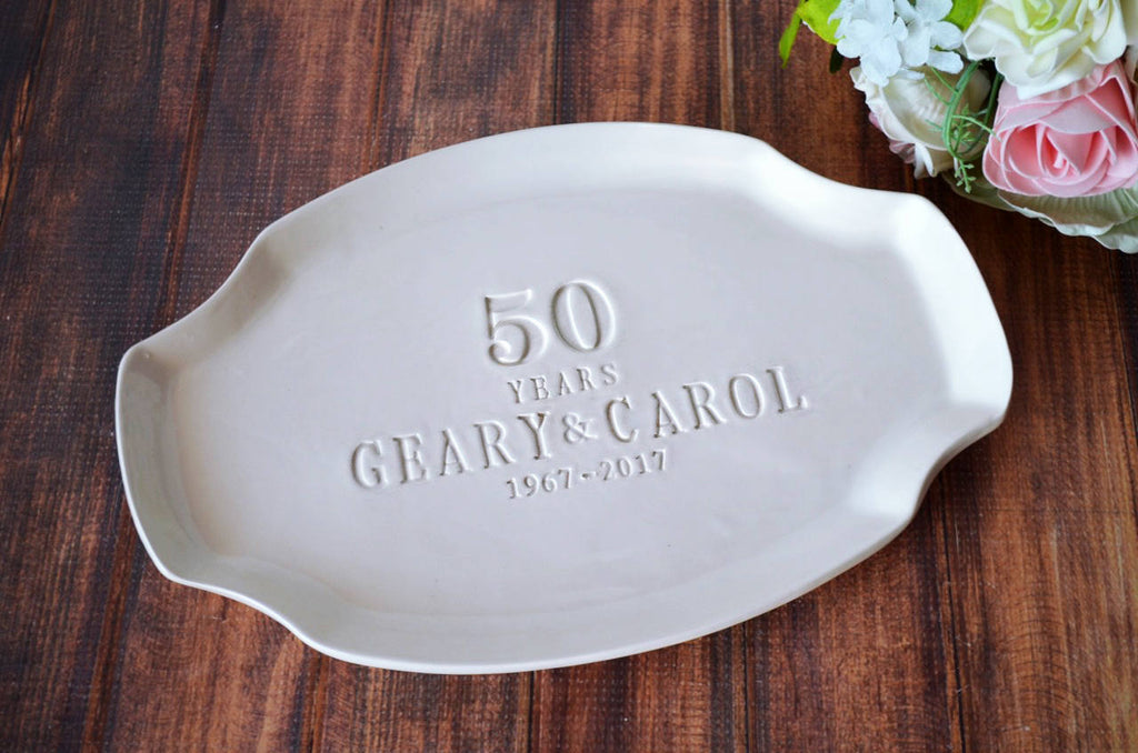 50th Anniversary Gift or Signature Guestbook Platter - Personalized Platter - Gift Boxed