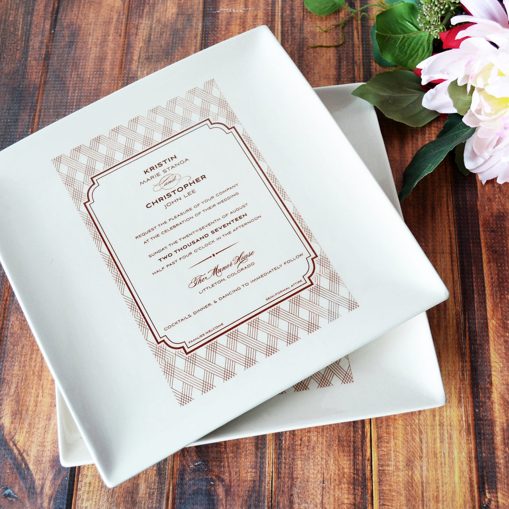 Set of 2 - Large Wedding Invitation Plates - Wedding Gift for Parents - 10 x 10