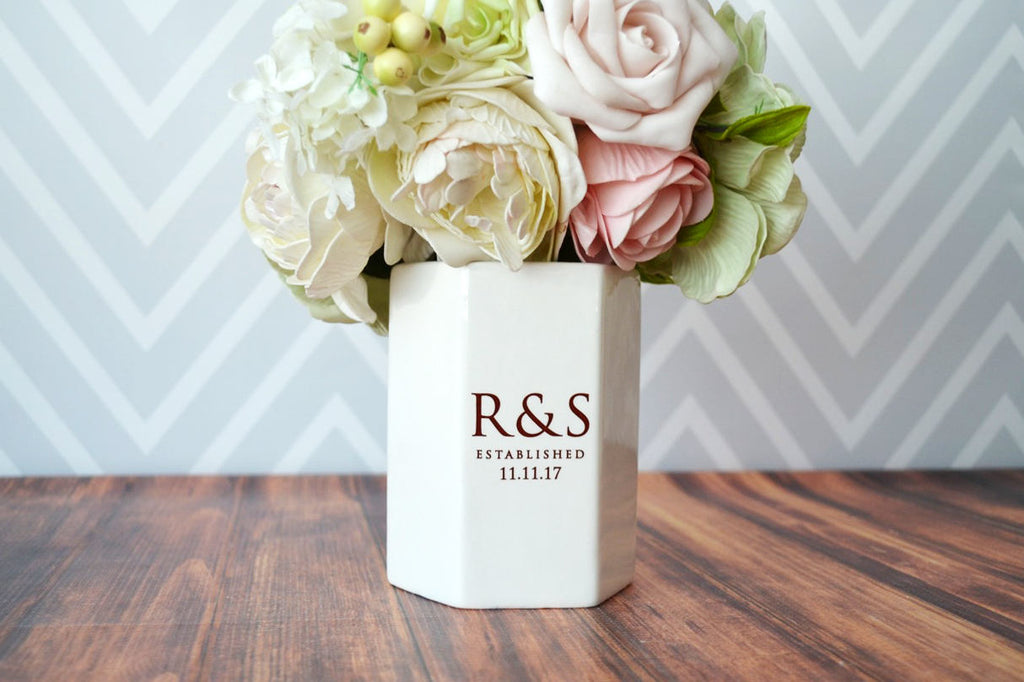 Wedding Gift or Wedding Centerpiece Vase - Modern Vase - Hexagon Shape - Personalized