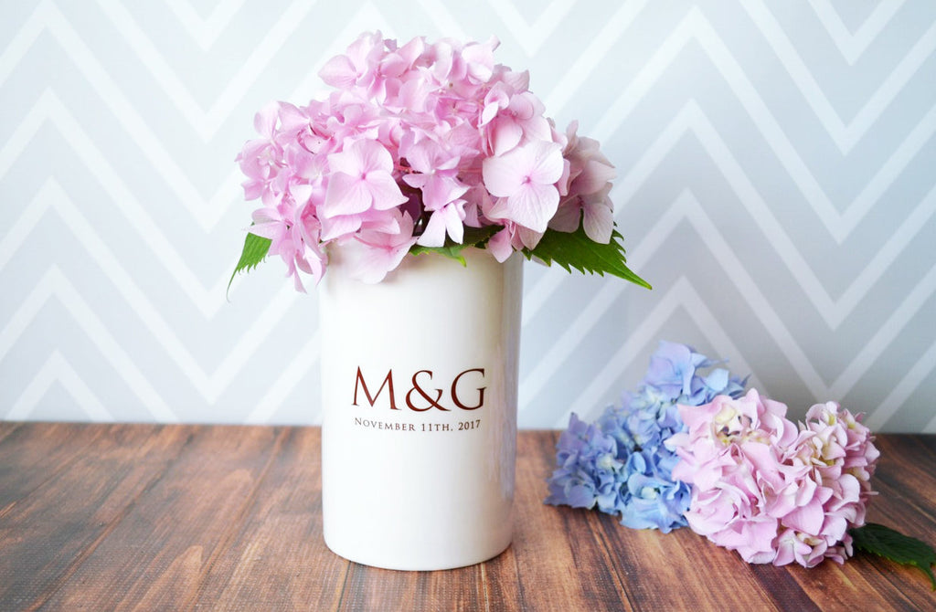 Wedding Gift or Anniversary Gift - Use as a Personalized Vase or Utensil Holder - With Initials and Wedding Date