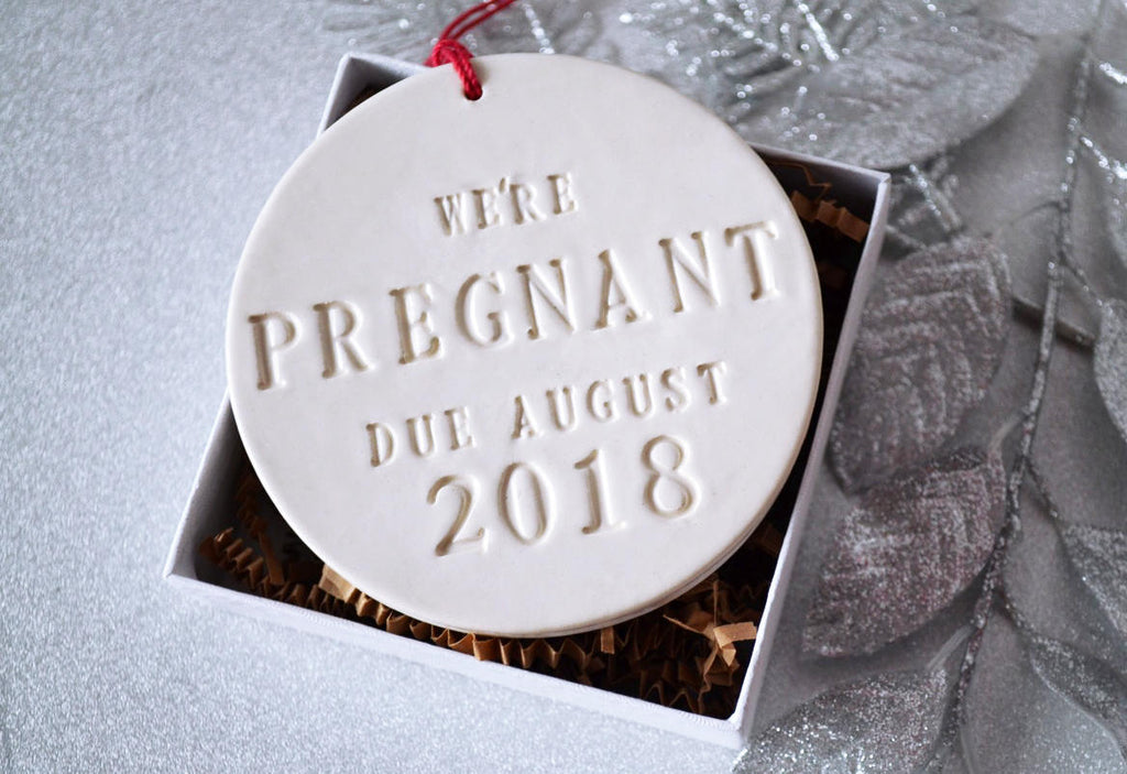 We're Pregnant Ornament, Pregnancy Announcement - With Month and Year - Gift Boxed