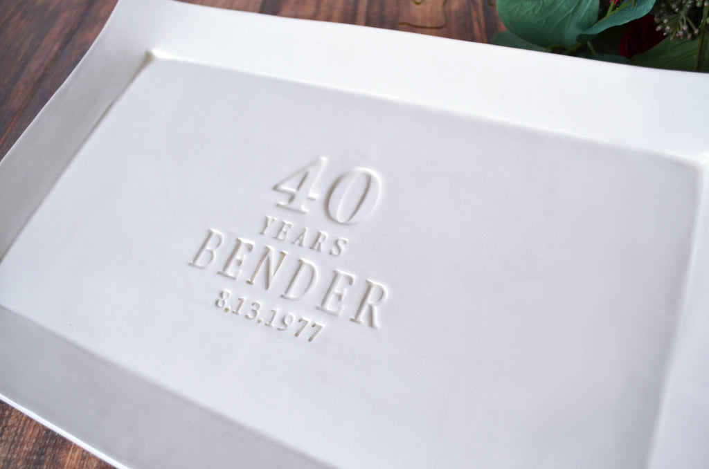 40th Anniversary Gift or Signature Guestbook Platter - Rectangular Personalized Platter - Gift Boxed