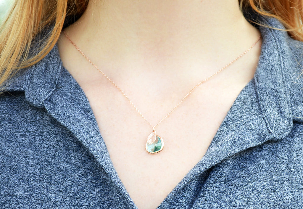 Personalized Aquamarine Necklace - March Birthstone Necklace, Custom Initial Necklace, Rose Gold