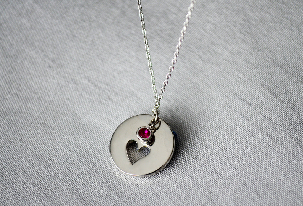 Personalized Heart Necklace, Birthstone Necklace - Silver With Birthstone - Gift Boxed