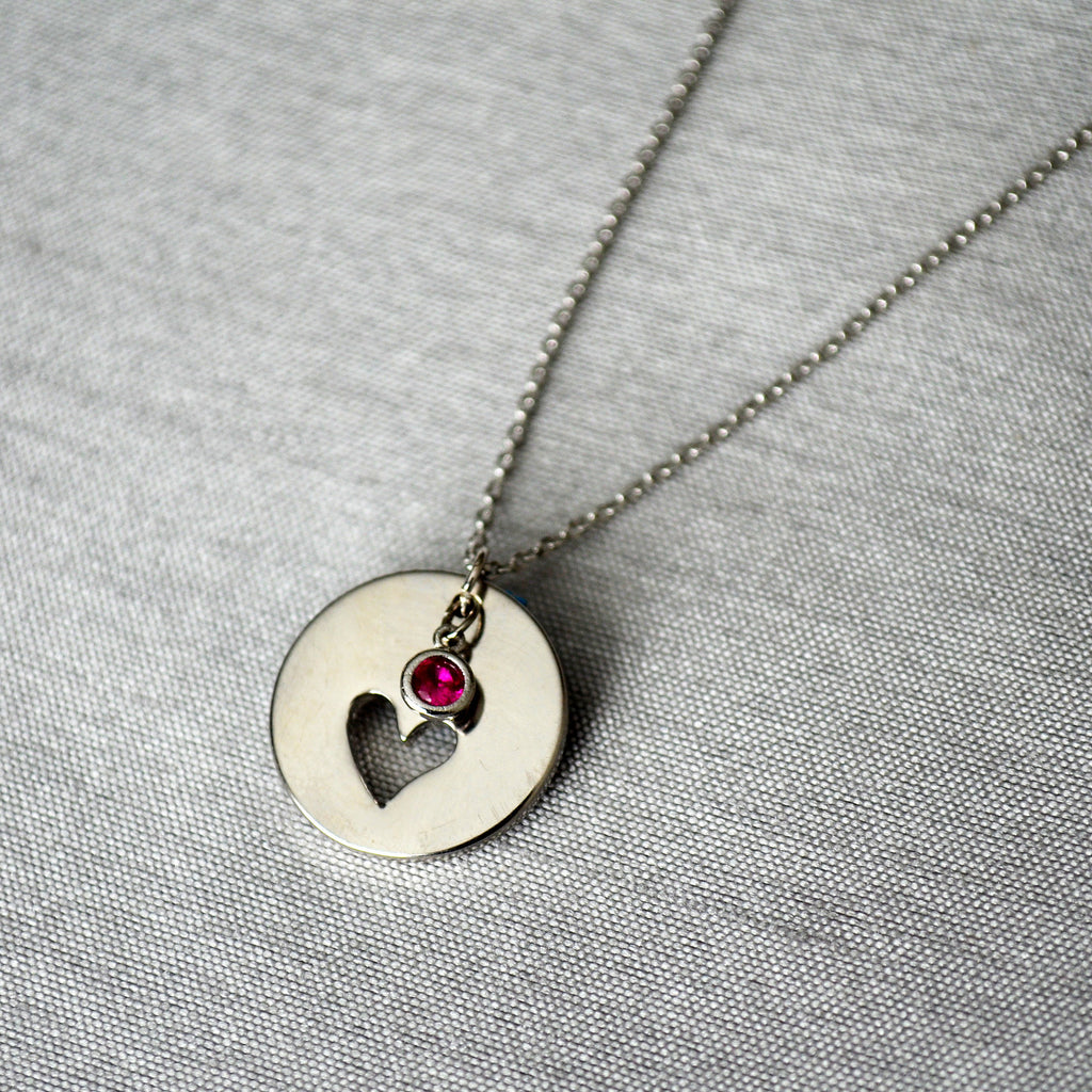 Heart Necklace, Bridesmaid Gift, Flower girl Gift, Mother of the Bride Gift, Birthstone Necklace, Friend Gift, Best Friend Gift, Gift Boxed