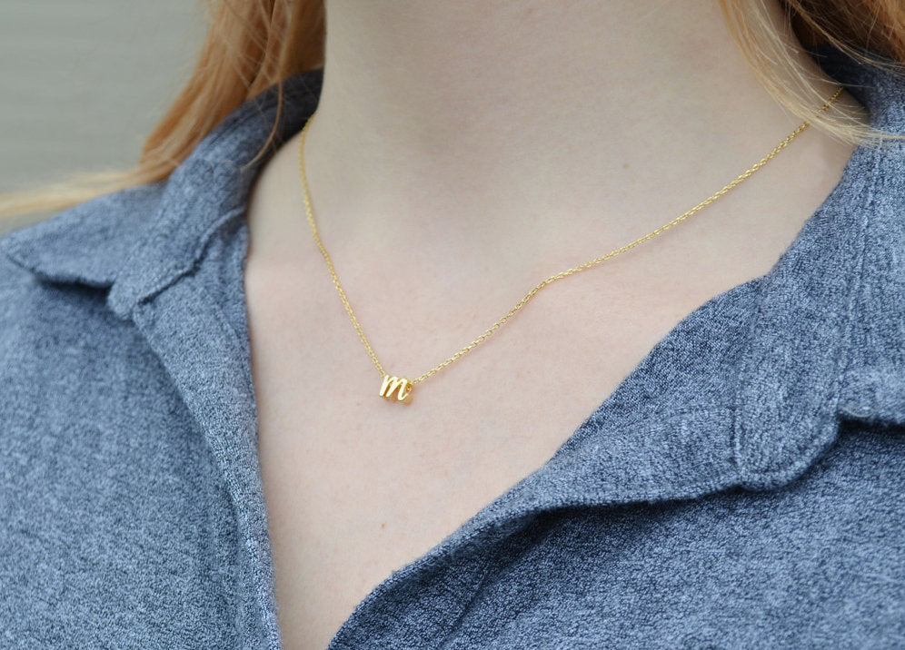 Personalized Initial Necklace, Personalized Letter Necklace - Gold or Silver - Script Letter