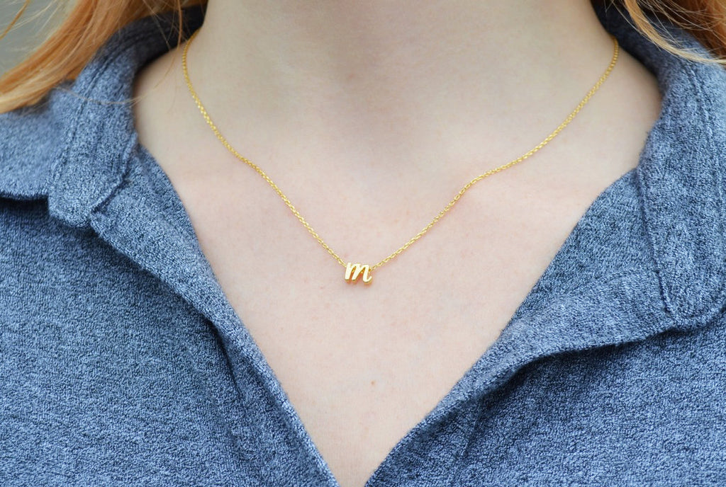 Personalized Letter Necklace, Initial Necklace - Silver or Gold - Script Letter - With Gift Box