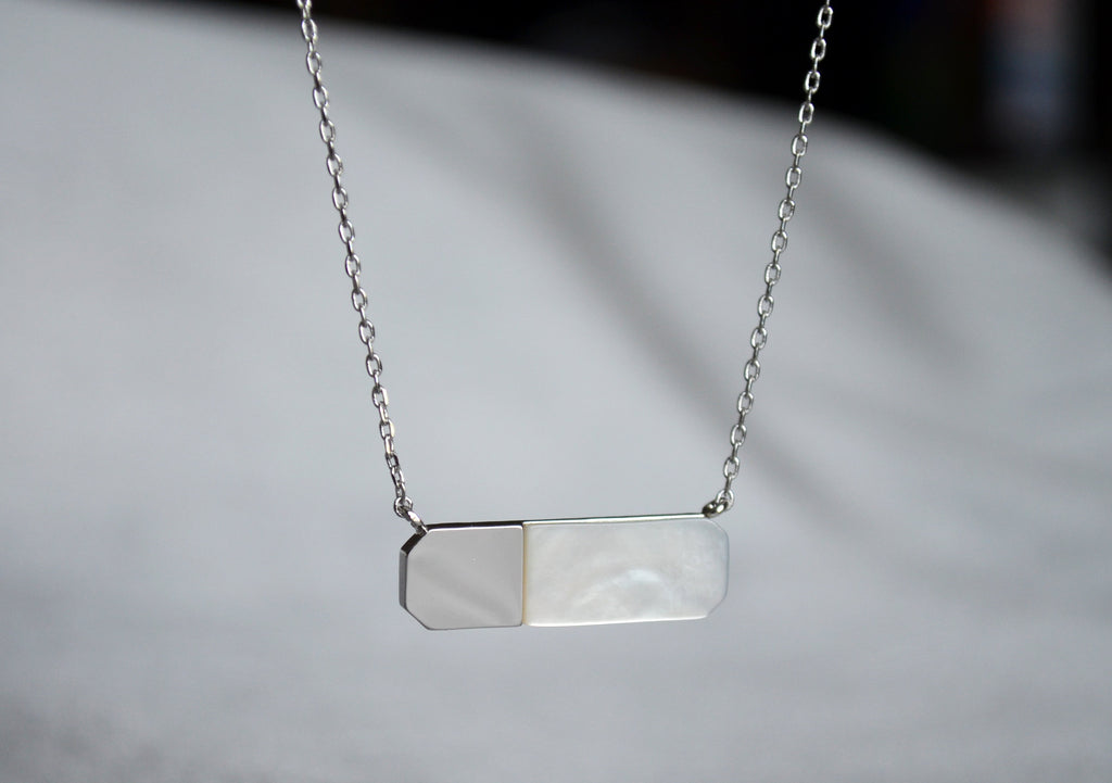 Geometric Necklace, Modern Necklace, Mother-of-pearl, Gift for Her, Birthday Necklace, June Necklace, Gemini Necklace, Cancer Necklace