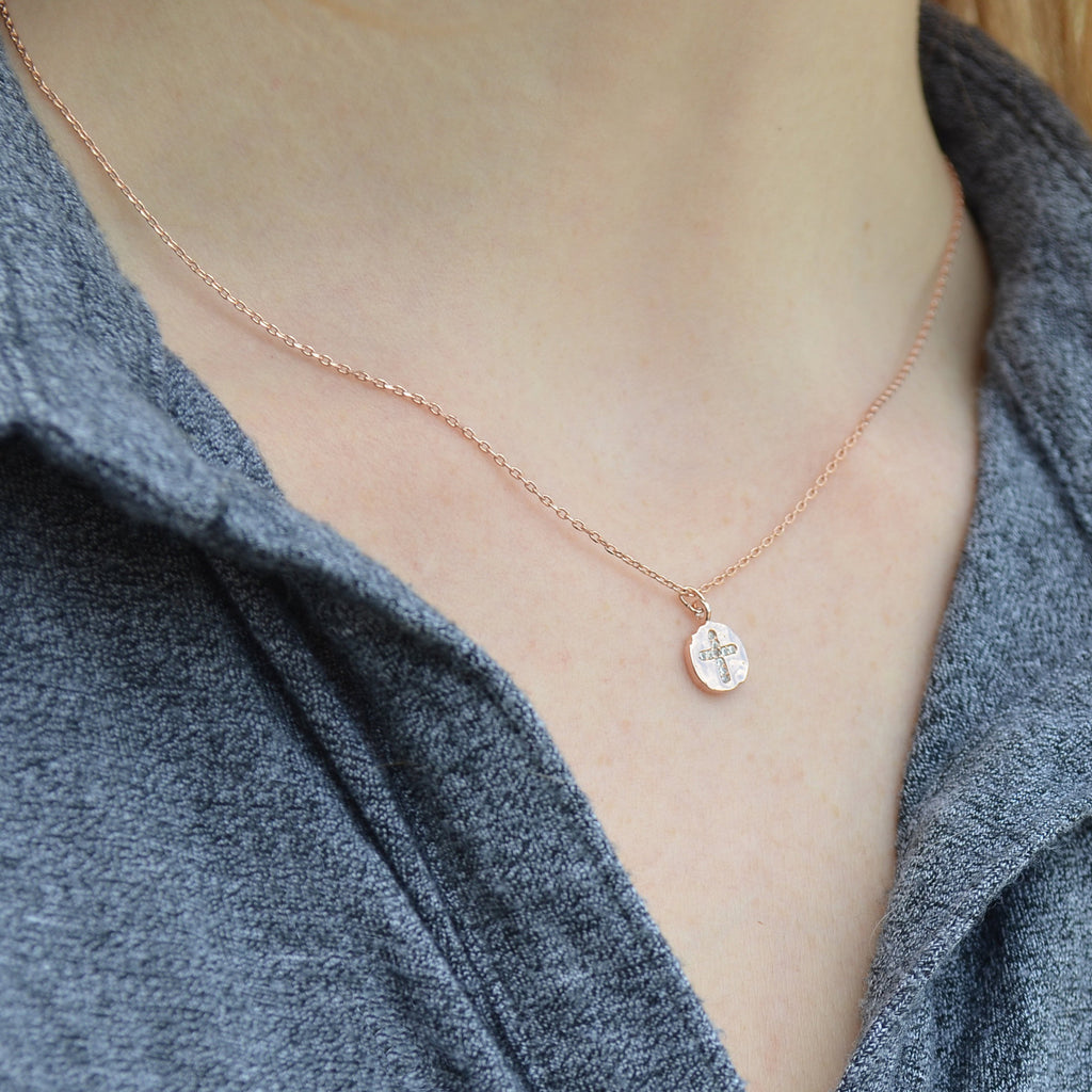 Rose Gold Cross Necklace, Baptism Gift, First Communion Gift, Confirmation Gift, Godchild Gift, Girls Cross Necklace, Cross Pendant