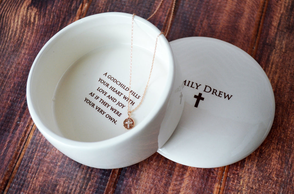 Godchild Gift with Necklace, Goddaughter Gift, Godchild Necklace, Goddaughter Necklace - Personalized - Round Keepsake Box - Gift Box