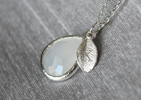 June Birthstone Necklace, Birthday Necklace, Personalized Necklace, Bridesmaid Necklace, Initial Necklace, Moonstone, Pearl Pendant