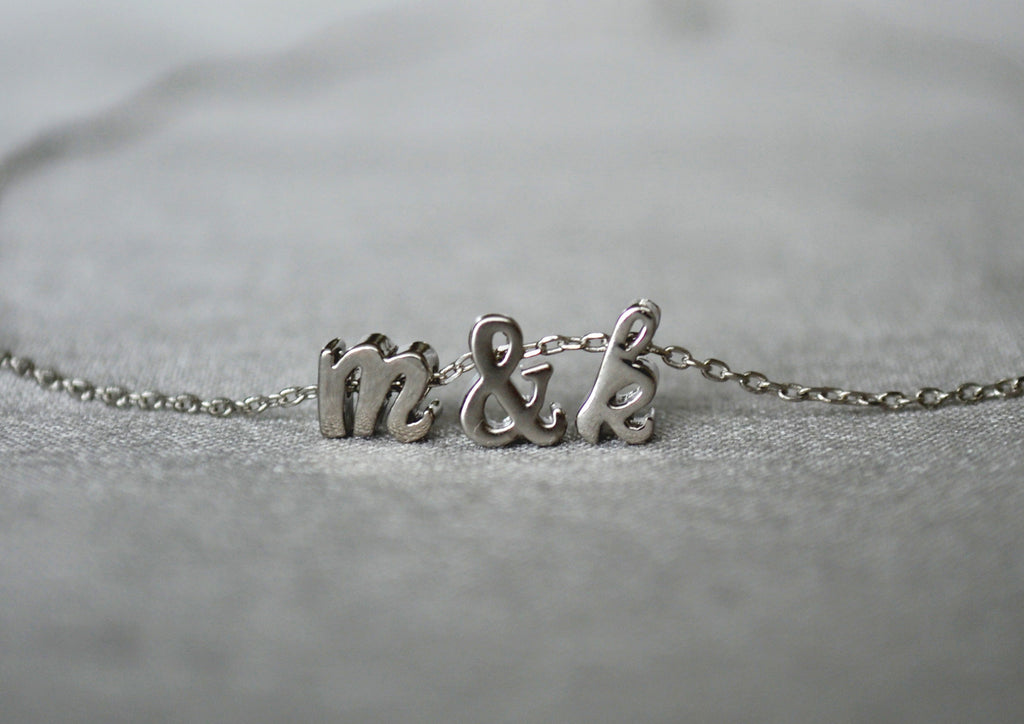 Personalized Letter Necklace, Initial Necklace - Silver or Gold -Script Letter