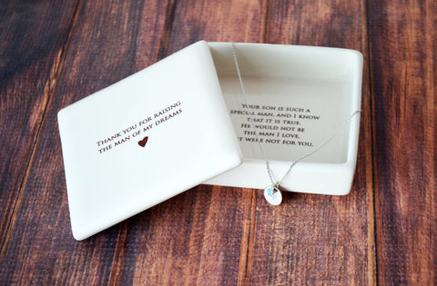 Mother of the Groom Gift - Square Keepsake Box with Personalized Necklace - Thank You For Raising the Man of My Dreams