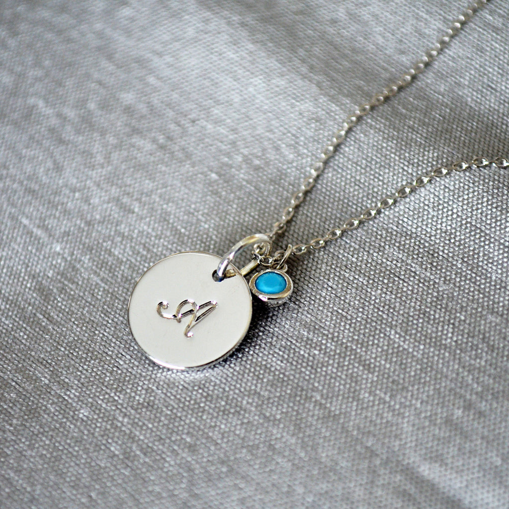 Initial Necklace, Letter Necklace, Birthstone Necklace with Intial