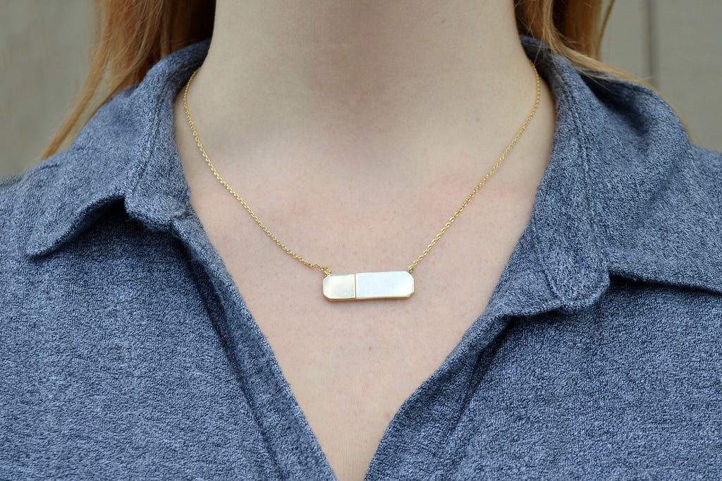 June Birthday Necklace, June Necklace, Gemini Necklace, Cancer Necklace, Mother-of-pearl, Geometric Necklace Pendant, Gift for Her