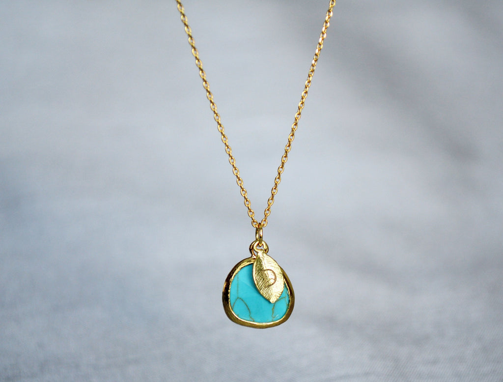 December Birthstone Necklace - Turquoise Birthstone Necklace, Custom Initial Necklace