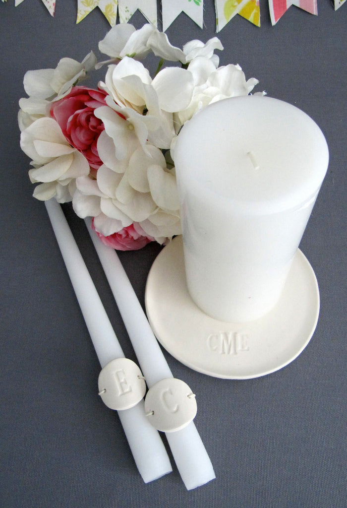 PERSONALIZED Unity Candle Ceremony Set Monogrammed - Gift Boxed