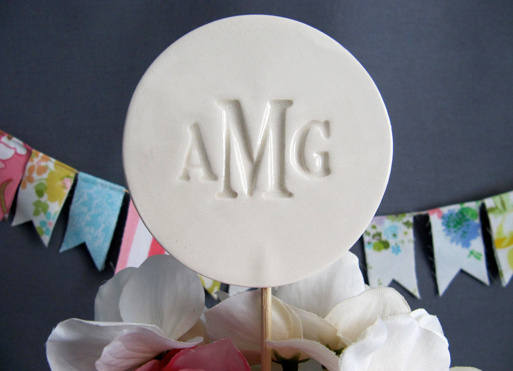PERSONALIZED Ceramic Modern Wedding Cake Topper
