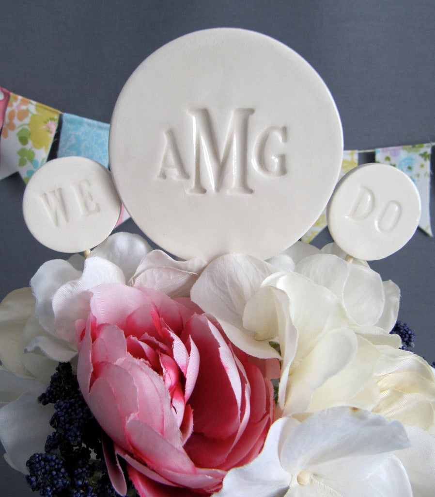 PERSONALIZED Modern Wedding Cake 'We Do' Topper