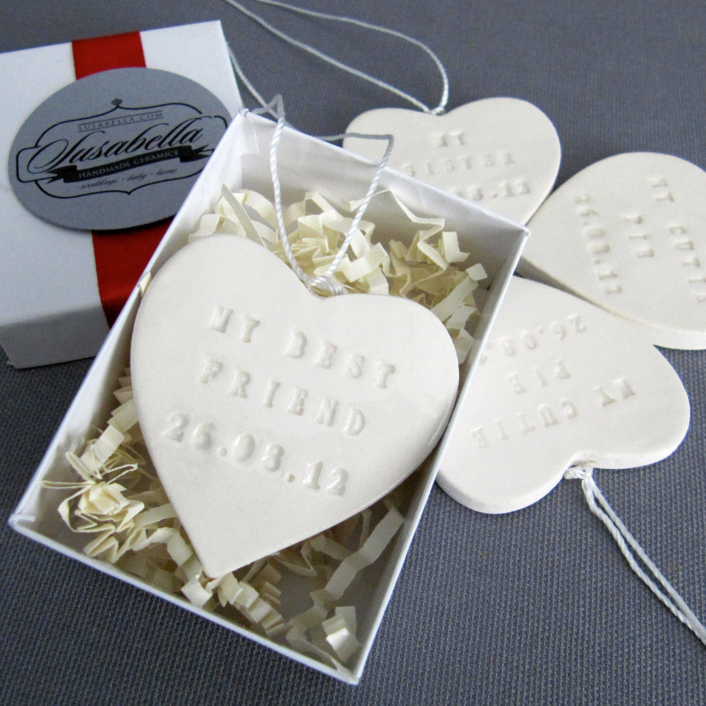 Set of 4 PERSONALIZED Bridesmaids Gifts - Large Heart Bouquet Charms - Gift Boxed & Ready to Give
