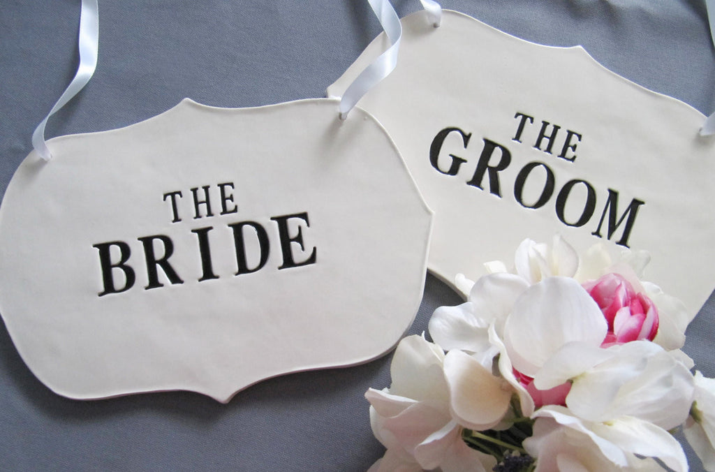 Large The Bride & The Groom Wedding Sign Set to Hang on Chair and Use as Photo Prop