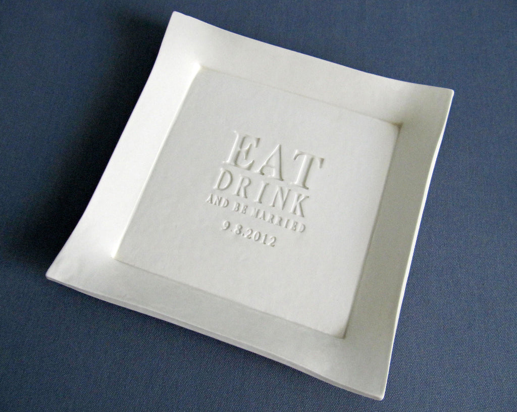Eat, Drink and Be Married - Personalized Wedding Cake Platter - Wedding Gift - Gift boxed