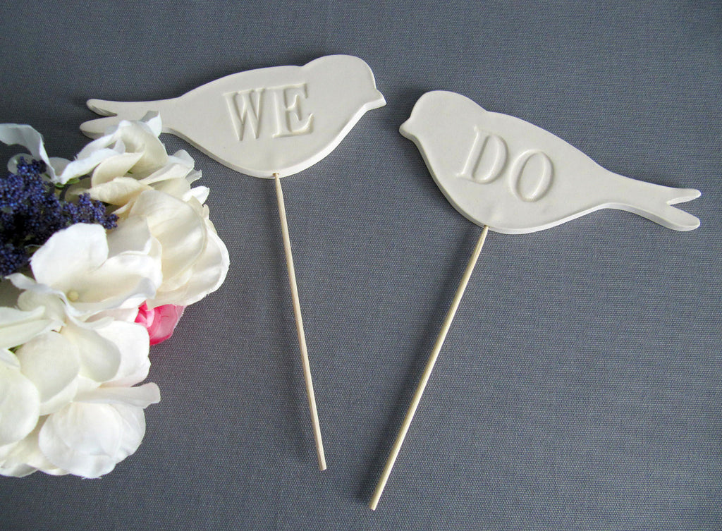 We Do Bird Wedding Cake Toppers