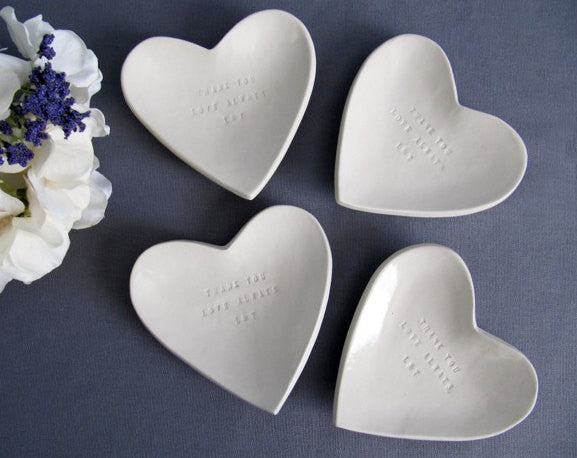 Set of 4 Customized Bridesmaids Gifts - Heart Bowls - Gift Boxed & Ready to Give