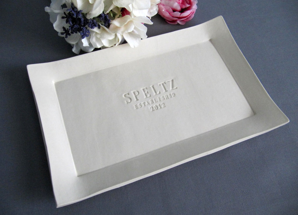 Personalized Wedding Signature Guestbook Platter or Heirloom Wedding Gift - Gift boxed