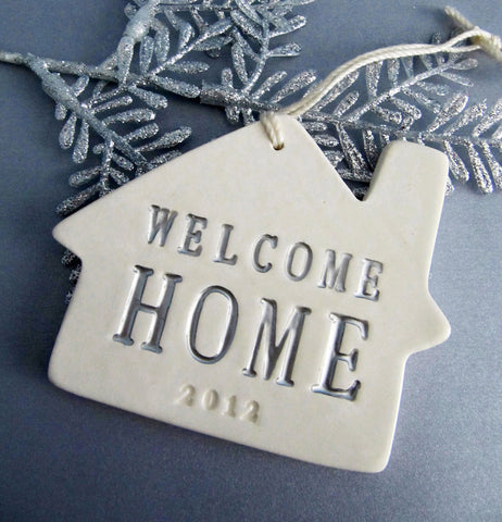 Personalized Christmas Ornament - Gold Welcome Home 2016 - Gift Boxed and Ready to Give