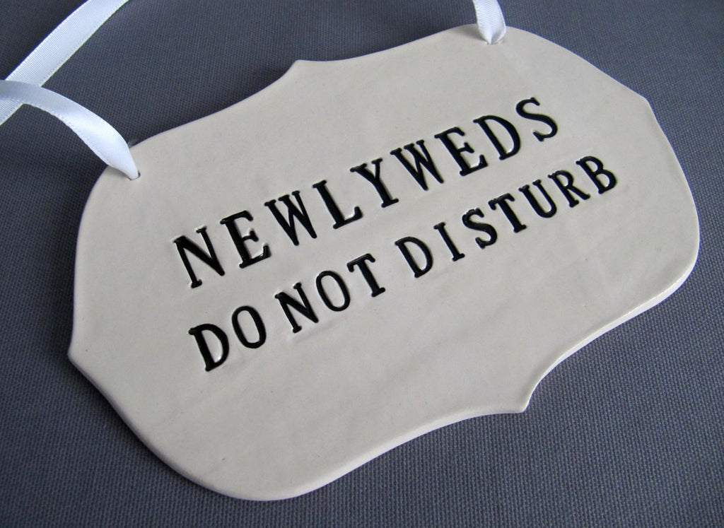 Newlyweds Do Not Disturb Wedding Sign to Hang on Door and Use as Photo Prop - Available in silver, gold or black letters