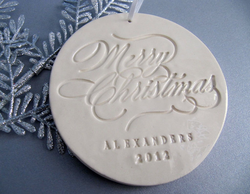 Large Personalized Christmas Ornament - Merry Christmas - Gift Boxed and Ready to Give