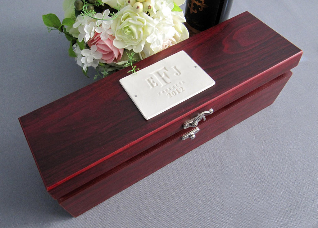 Personalized Wedding Gift - Wine Box With Tools - Rosewood Finish