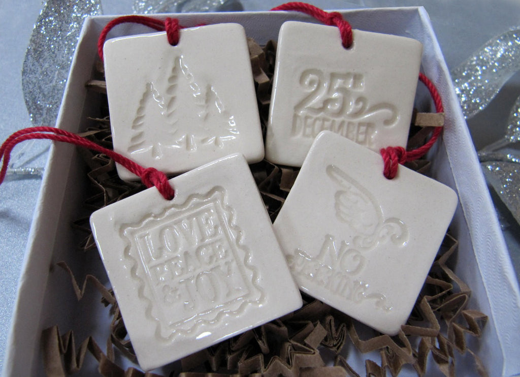 4 Miniature Square Christmas Ornaments or Holiday Gift Tags - SHIPS FAST - Gift Boxed and Ready to Give