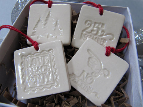 4 Miniature Square Christmas Ornaments or Holiday Gift Tags, Gift Boxed and Ready to Give
