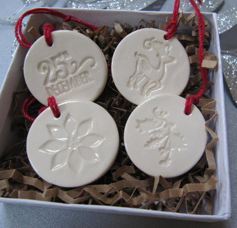 4 Miniature Round Christmas Ornaments or Holiday Gift Tags, Gift Boxed and Ready to Give