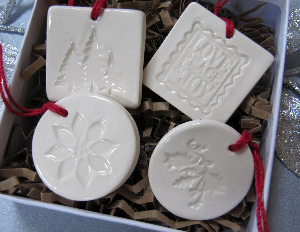 4 Miniature Square and Round Christmas Ornaments or Holiday Gift Tags - SHIPS FAST - Gift Boxed