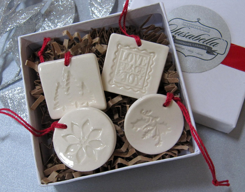4 Miniature Square and Round Christmas Ornaments or Holiday Gift Tags, Gift Boxed and Ready to Give