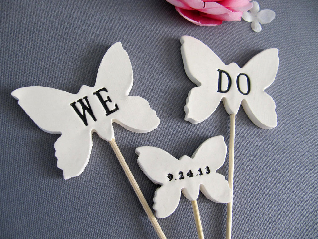Butterfly We Do Wedding Cake Toppers with Wedding Date