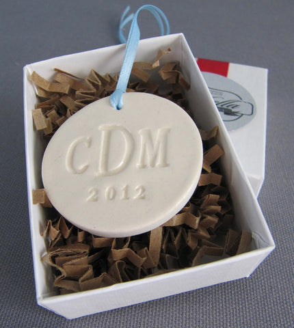 Large Round Personalized Wedding Bouquet Charm - Gift Boxed