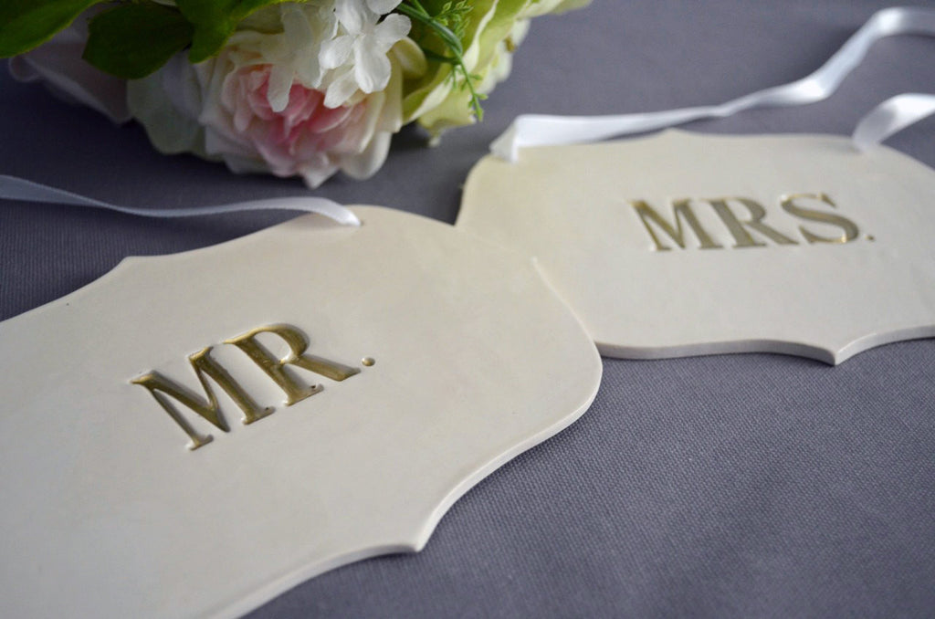 Gold Mr. and Mrs. Wedding Sign Set to Hang on Chair and Use as Photo Prop