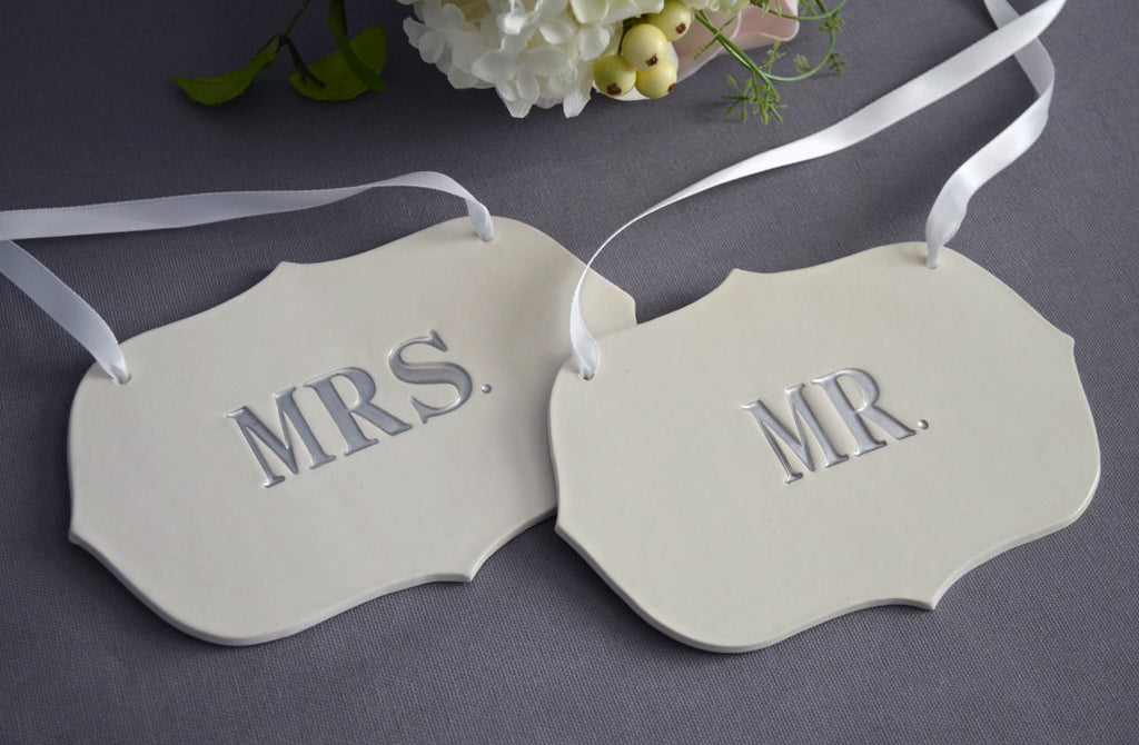 Silver Mr. and Mrs. Wedding Sign Set to Hang on Chair and Use as Photo Prop