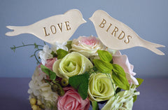 Gold Love Bird Wedding Cake Toppers